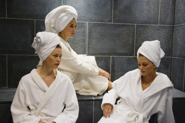Robed women in sauna