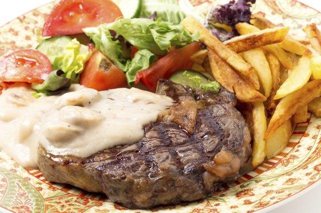 Ribeye steak meal closeup