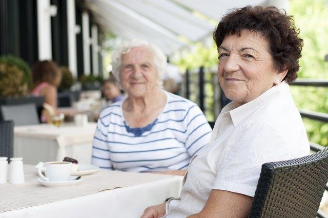Senior women having coffee break