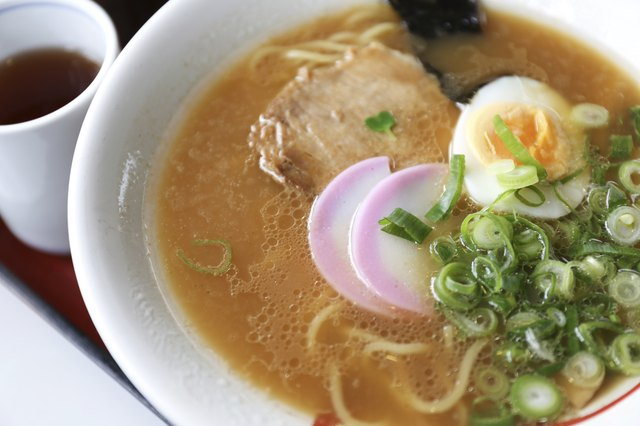Close-up japanese noodle called ramen in a white bowl