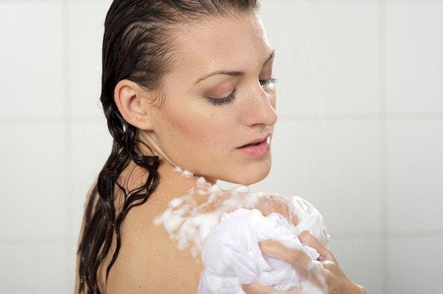 Woman washing her body