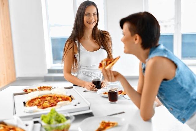 Eating Fast Food. Friends Eating Pizza. Home Party. Leisure, Celebration