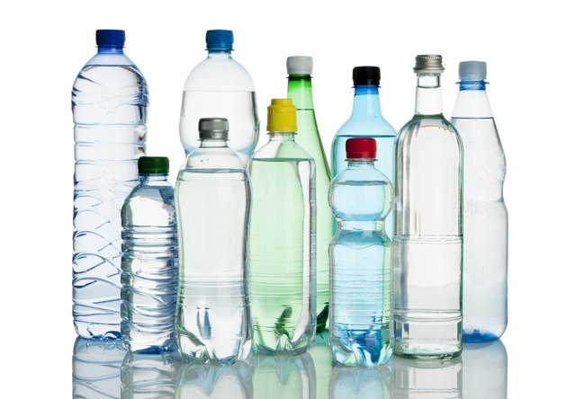 assortment of mineral water bottles