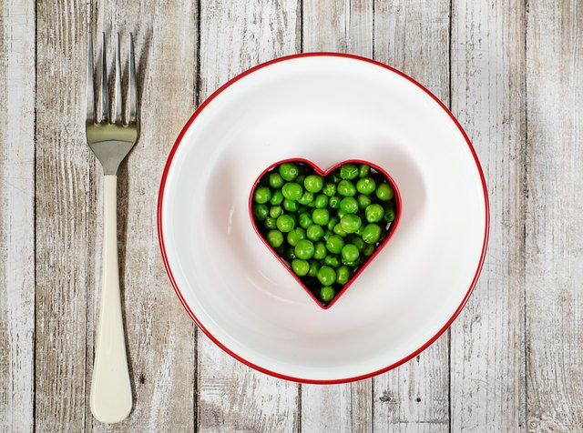 Cooked peas in heart shape