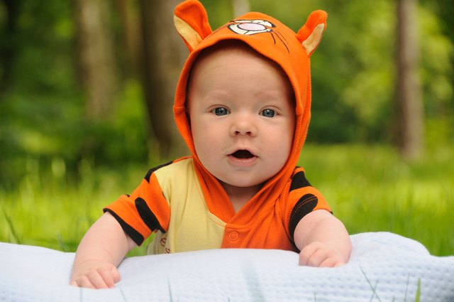 Baby in tigger outfit