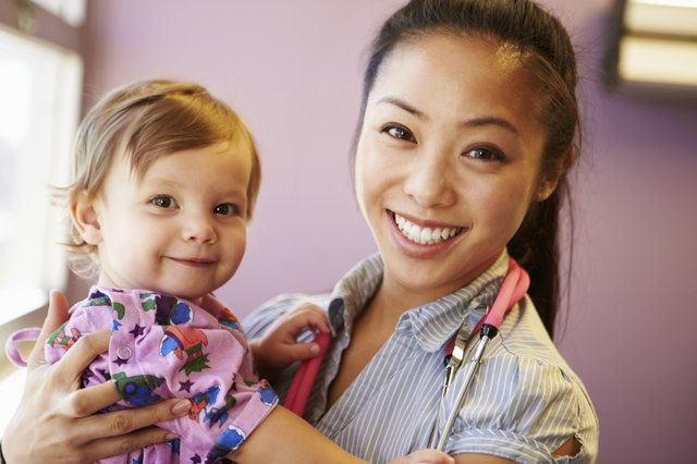 Young Girl Being Held By Female Pediatric Doctor