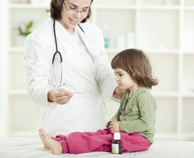 Little girl visiting a pediatrician