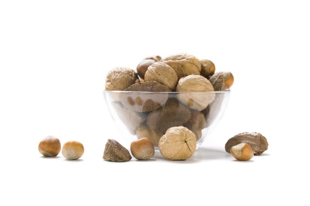 Close-up of a bowl of assorted nuts