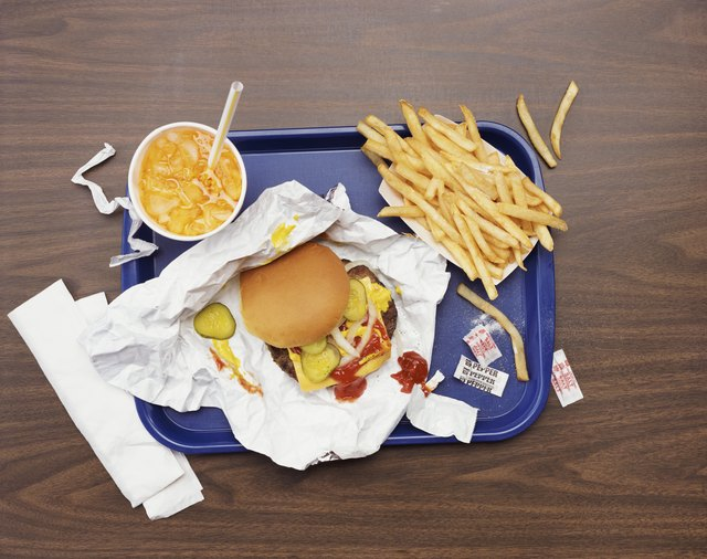 Elevated View of a Tray With Fries, a Hamburger and Lemonade