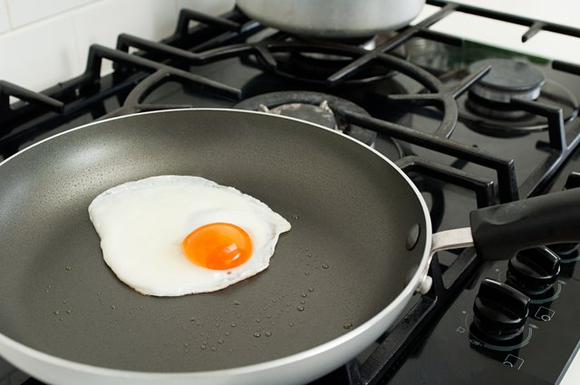 Fried egg in saucepan