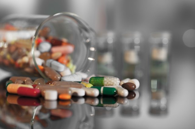 Colorful tablets with capsules and pills