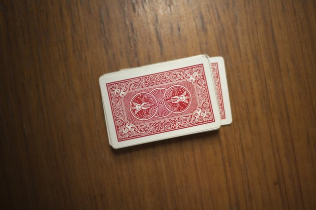 Overhead shot of a deck of playing cards on a table
