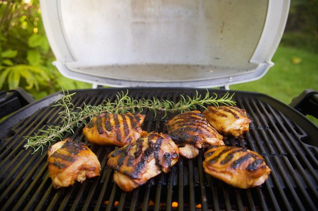 Barbecue scene, Chicken on the grill.