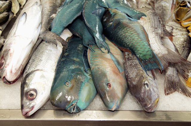 French Polynesia, Tahiti, Papeete, Local fish market