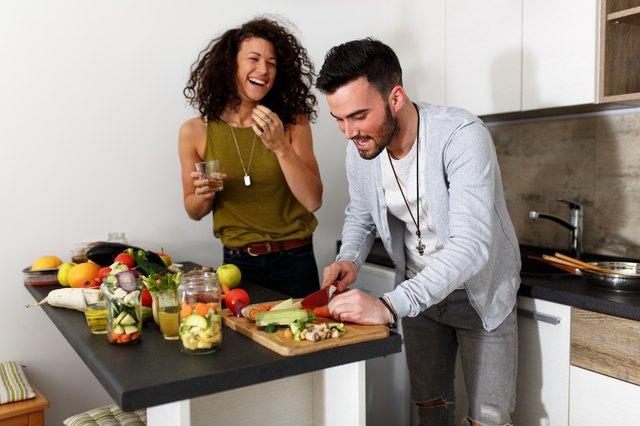 Preparing food at the kitchen