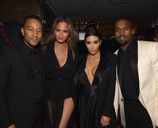 """NEW YORK, NY - JANUARY 08: (EXCLUSIVE COVERAGE) John Legend, Chrissy Teigen, Kim Kardashian and Kanye West attend John Legend Celebrates His Birthday And the 10th Anniversary of His Debut Album """"Get Lifted"""" at CATCH NYC on January 8, 2015, in New York City. (Photo by Dimitrios Kambouris/Getty Images for EMM Group)"""