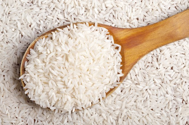 Rice background with spoon.
