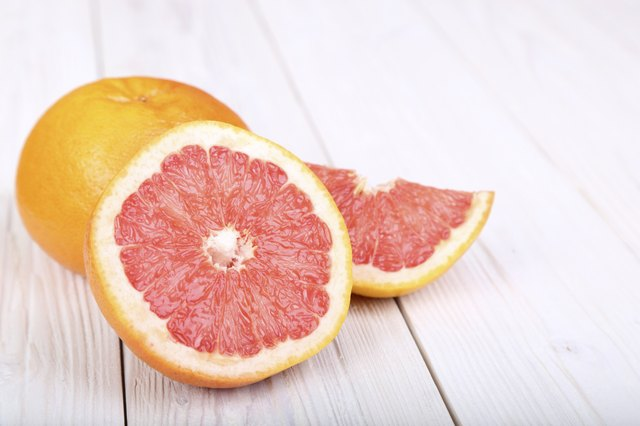 grapefruit on a  wooden background. selective focus