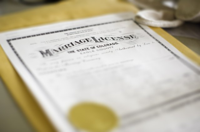 Marriage License Closeup Detail with Selective Focus