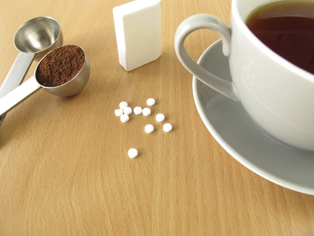 Black coffee with sweetener tablets