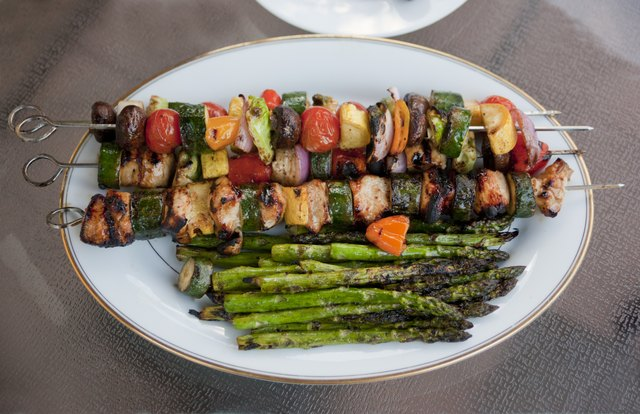 Grilled vegetable and chicken kabobs