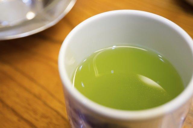 close up Japanese green tea
