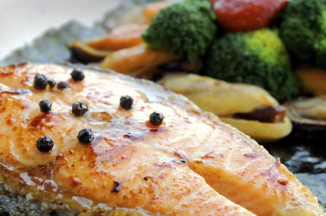 Australian salmon fillet steak grilled with New Zealand mussels