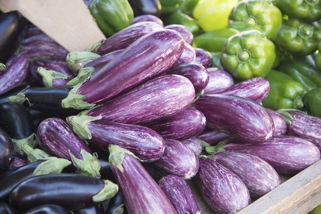 Eggplants and sweet pepper market