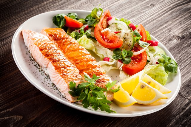 Roasted salmon and vegetables