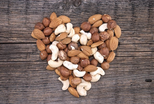 Shape of heart made from almonds, cashews and hazelnuts