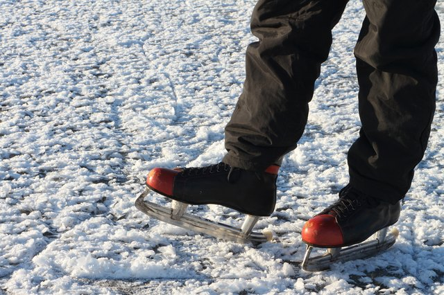 Male feet in the skates on a snow surface