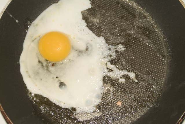 Close-up of a fried egg on a frying pan