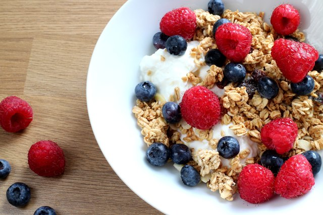 Rasberries ,blue berries , greek yogurt and granola