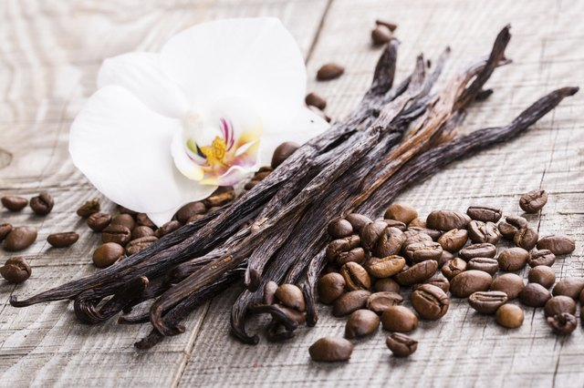 vanilla pods and coffee beans