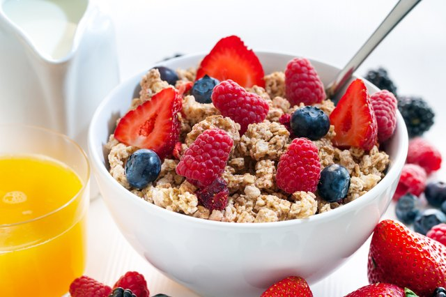 Healthy cereal breakfast with red fruits.