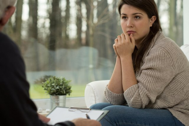 Young woman on psychotherapy session
