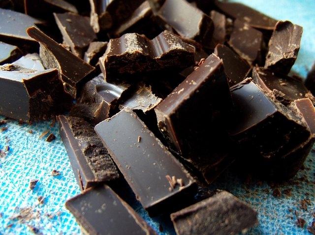 Chopped Dark Chocolate on Blue Cutting Board