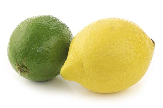 colorful fresh lime and lemon
