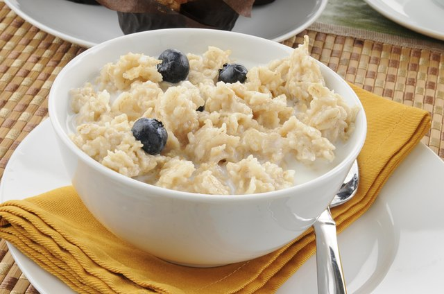Oatmeal with blueberries closeup