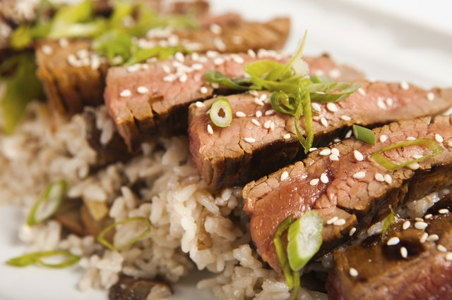 Korean Flank Steak with Sticky Rice