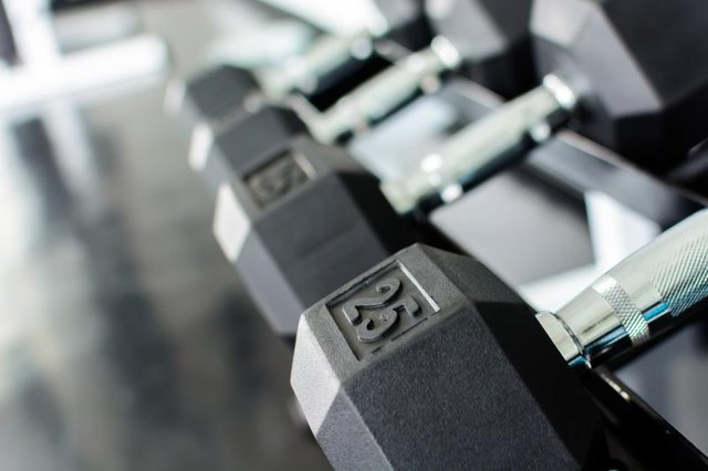 Close up on rows of dumbbells on a rack in a gym.