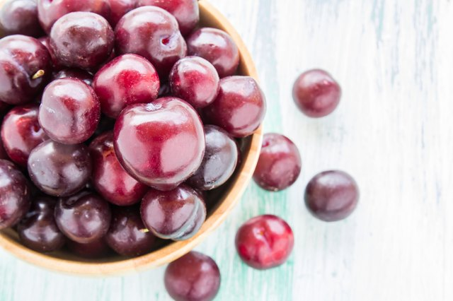 red Cherries in wooden bowl on wooden table background