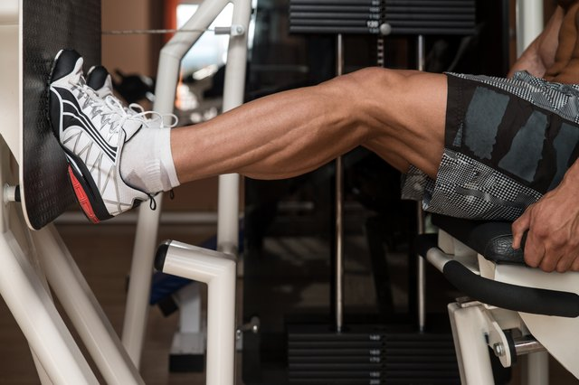 Bodybuilder Doing Legs Exercise