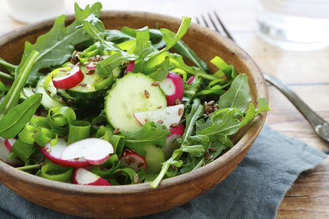 cucumbers and radishes in a salad