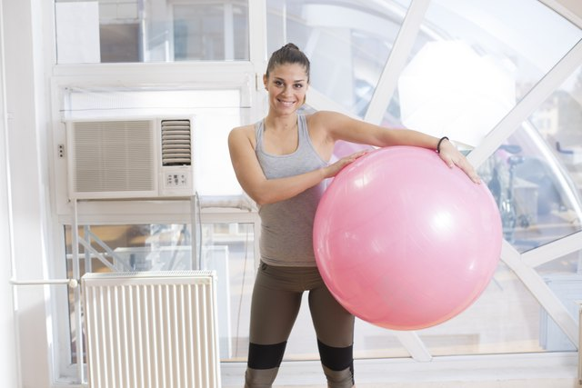 Girl with fitness ball