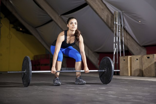Lifting weights at a crossfit gym