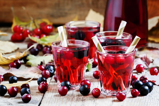 Autumn drink with cranberry and aronia