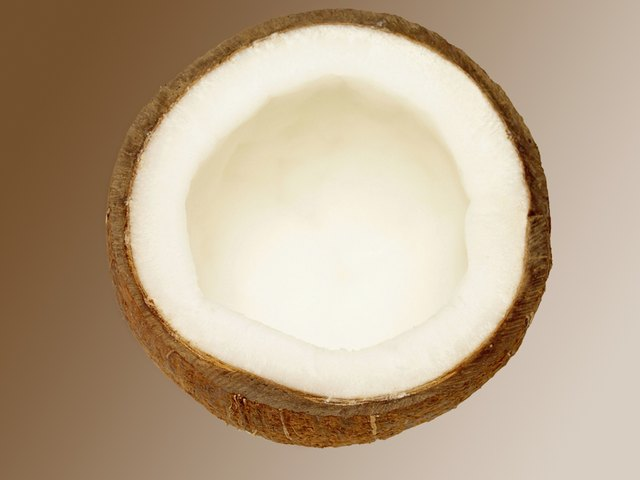 Close-up of a sliced coconut