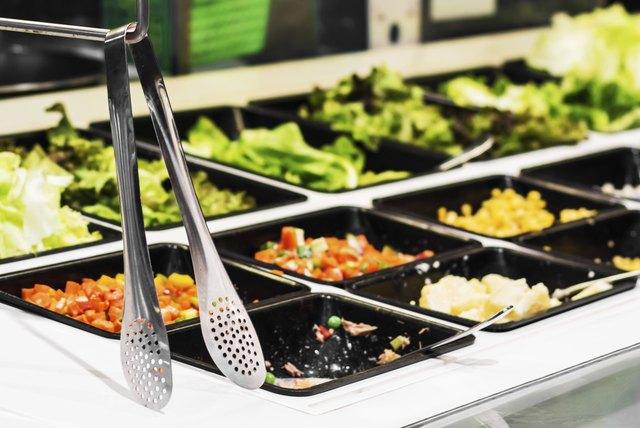 Salad  bar in a buffet line