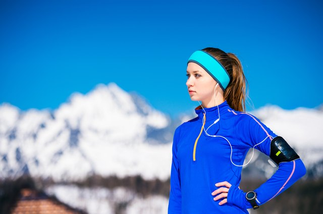 Woman running in mountains